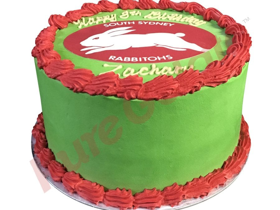 Double stack Smooth Green Cream red piping Rabbitohs logo