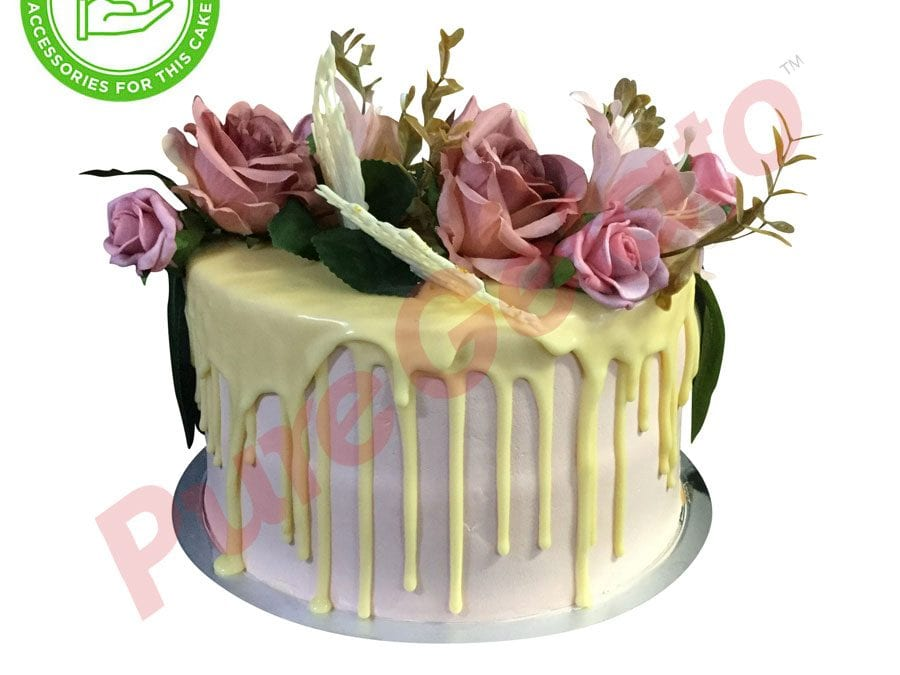 Double stack White choc drip light pink cream customer supplied acc