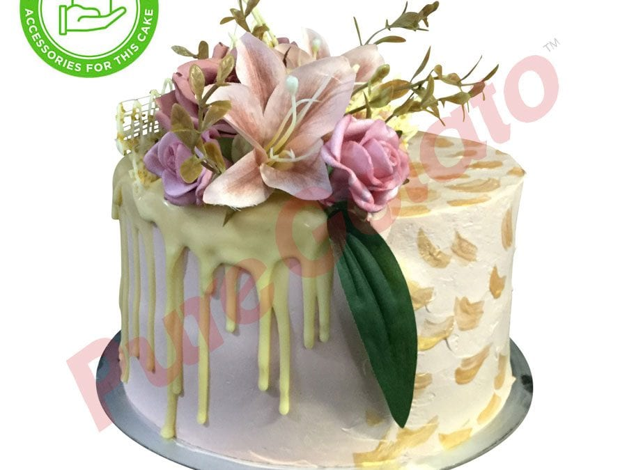 Double stack White choc drip light pink cream gold brush customer supplied acc