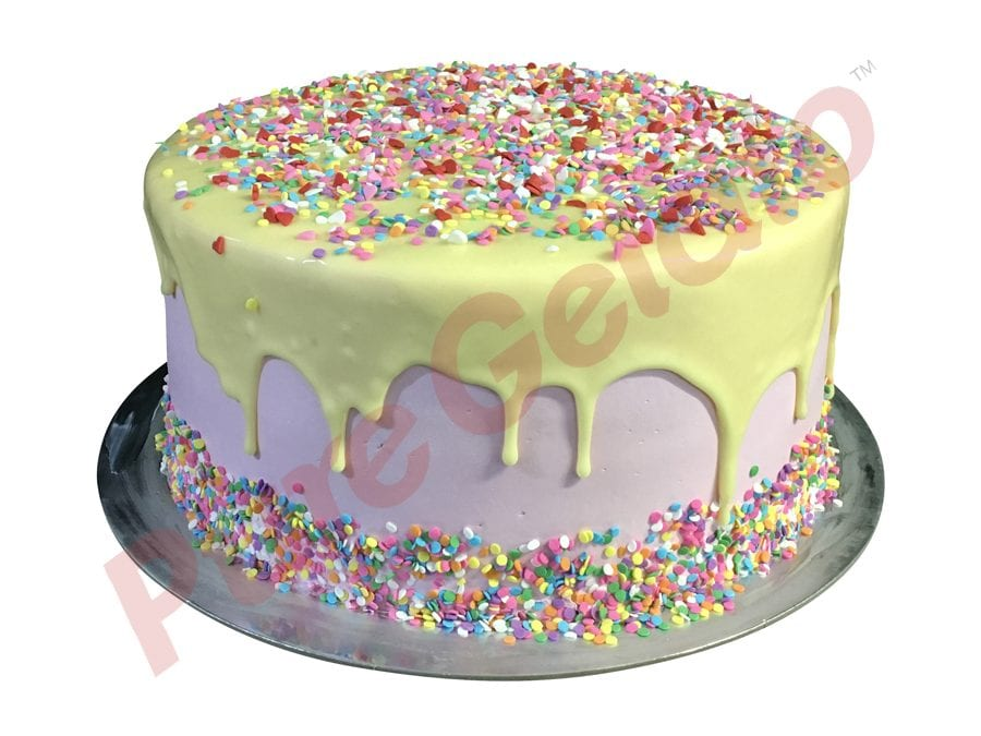 Double stack White choc drip light pink cream+sprinkles