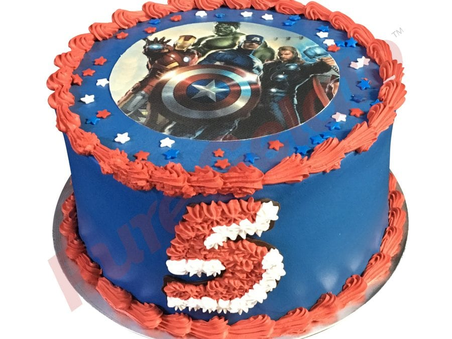 Double stack smooth blue Cream red piping captain America themed