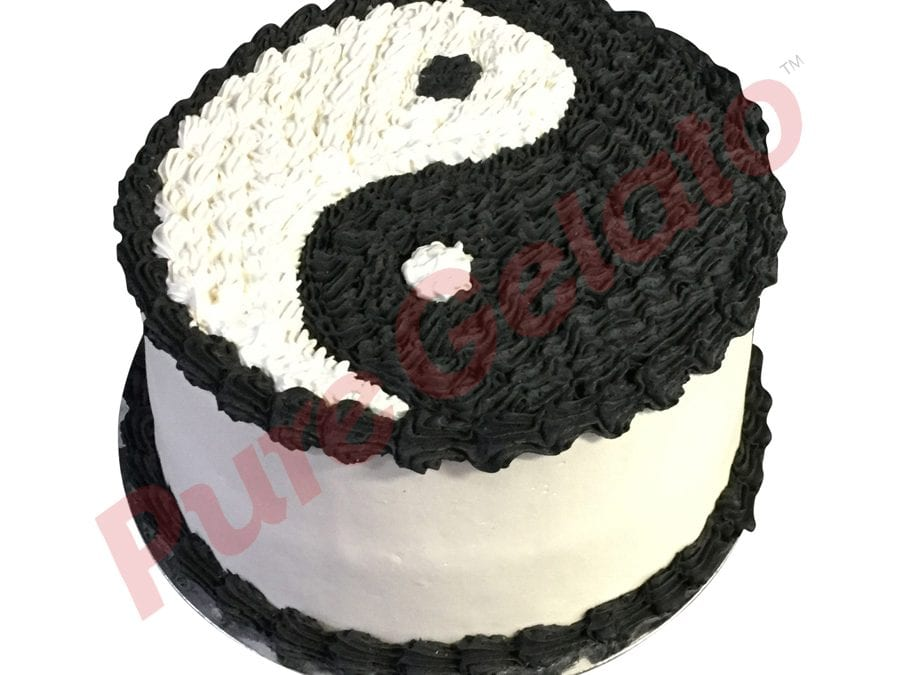Double stack smooth white Cream black piping ying yang themed