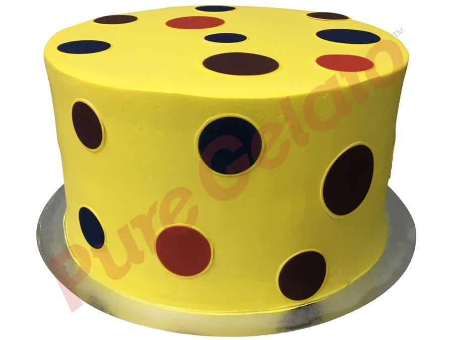 Double stack smooth yellow Cream dots images all over