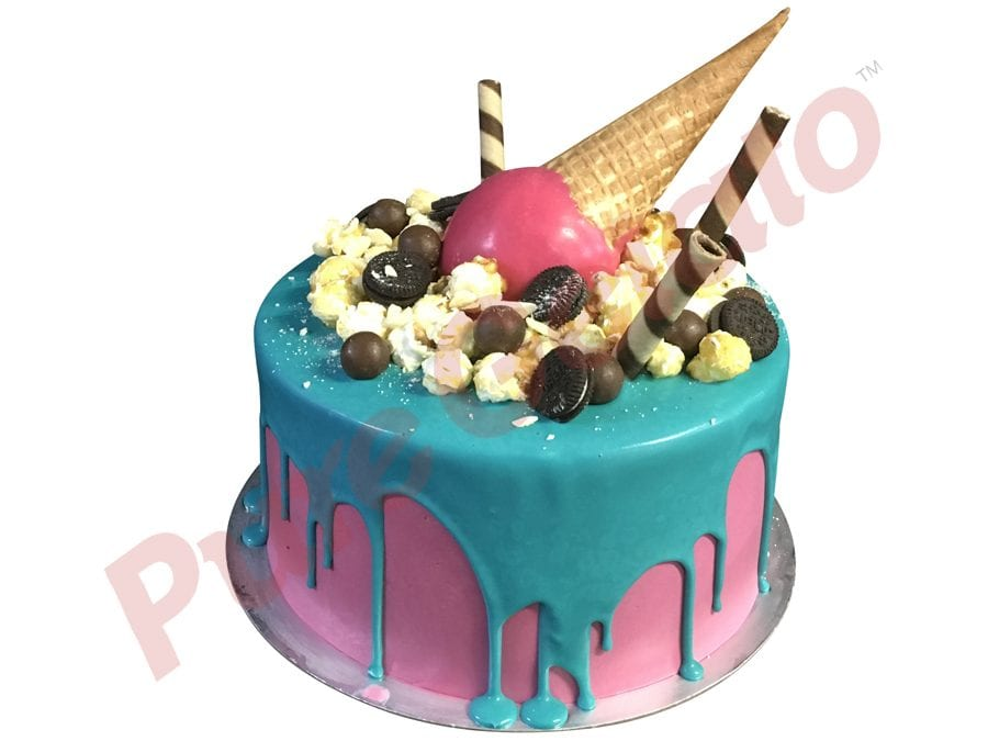 Double stack teal choc drip hot pink cream upside down Cone+cluster