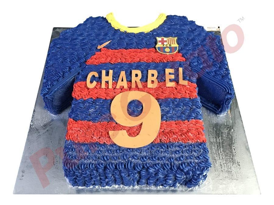Jersey cake soccer Barcelona front+name number