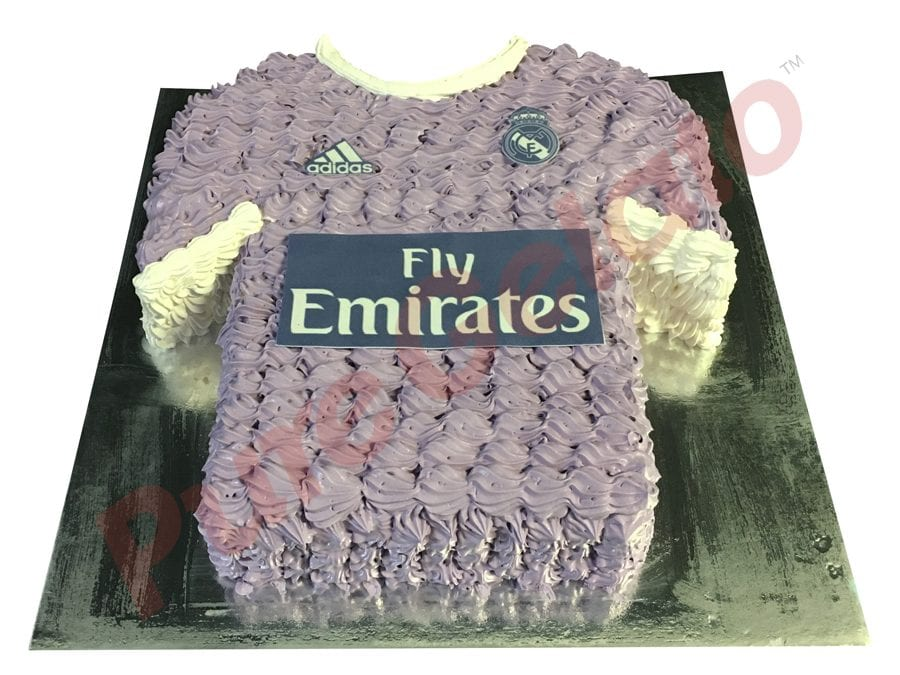 Jersey cake soccer real Madrid away front