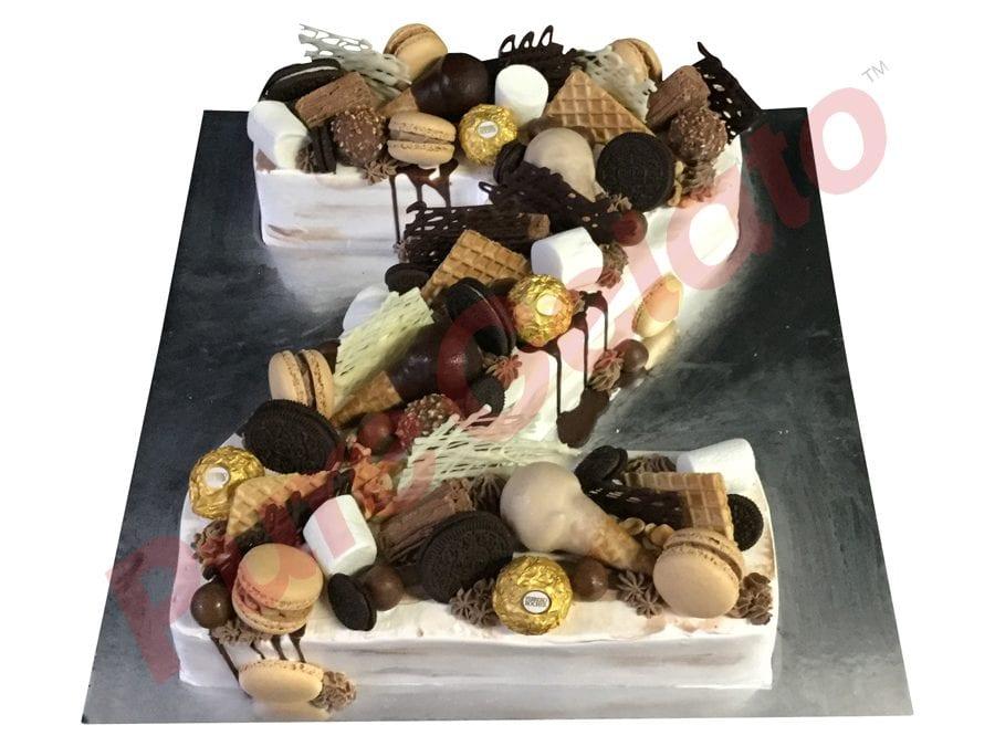 Letter Cake Z Choc Cluster naked white Cream