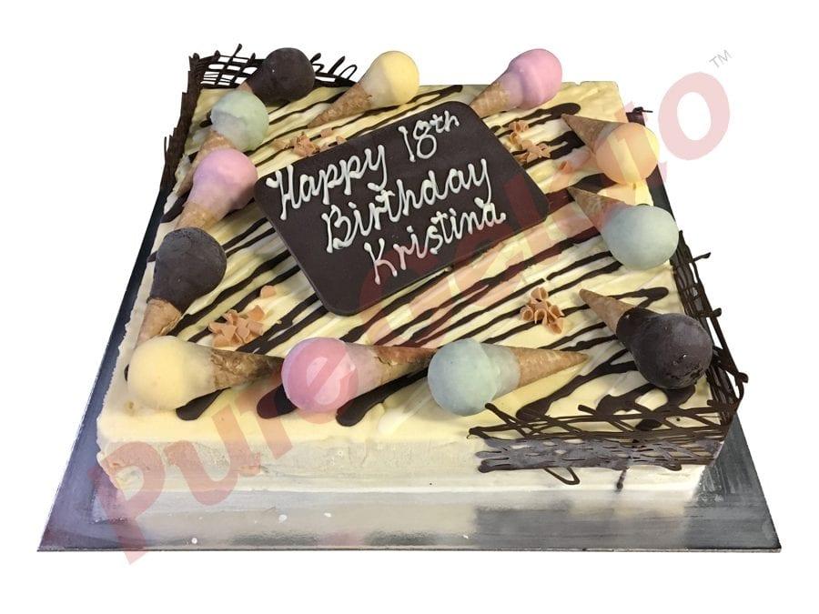 Mini cone Cake non Cream decorated 45 person square