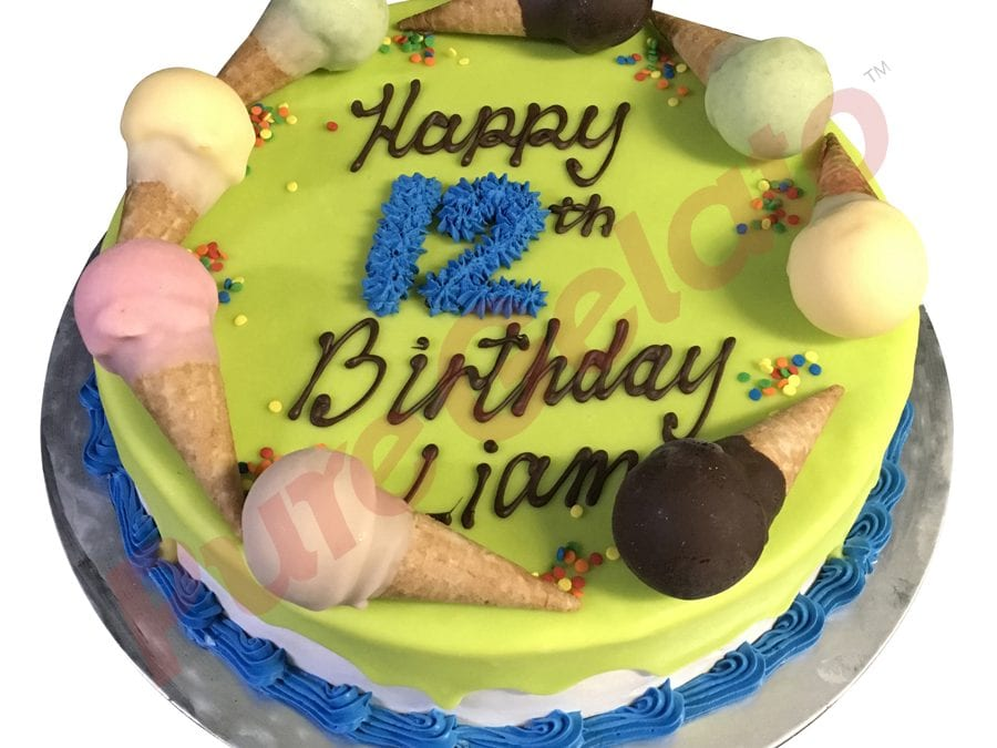Mini cone cake Lime green choc drip Blue piping