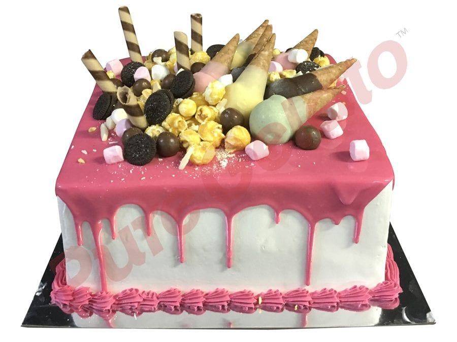 Mini cone cluster cake double stack square pink choc drip