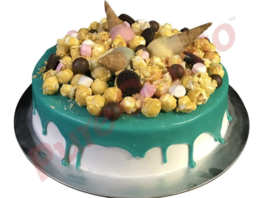 Mini cone cluster cake teal choc drip