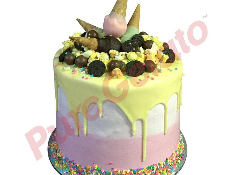 Mini cone cluster cake triple stack white Choc drip 2 tone pink Cream sprinkles