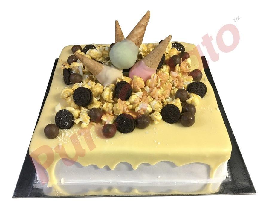 Mini cone cluster cake white square Choc drip