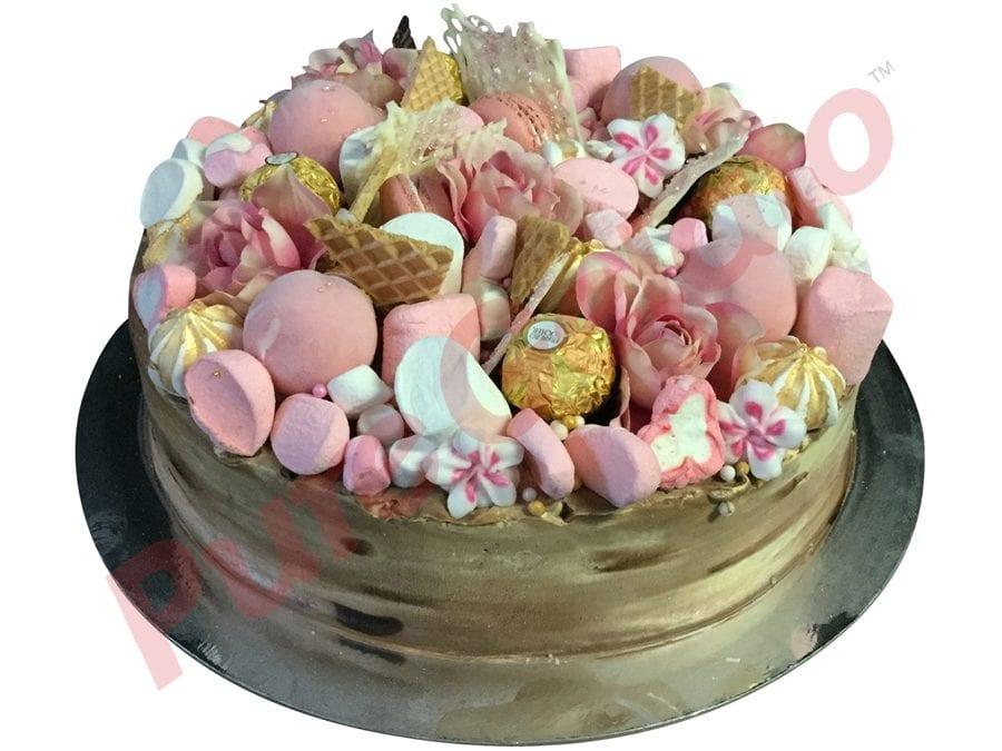 Naked cake choc tone Cream Full pink cluster