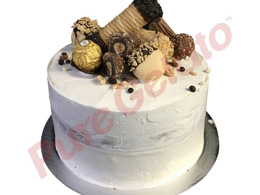 Naked cake white Cream double stack+Cannoli choc cluster