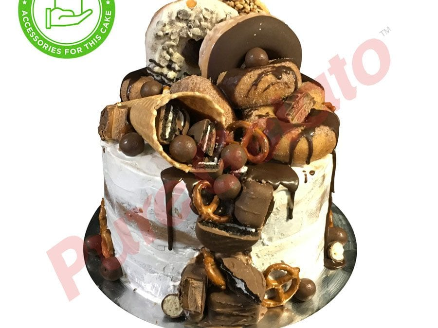 Naked cake white Cream double stack+customers supplied acc