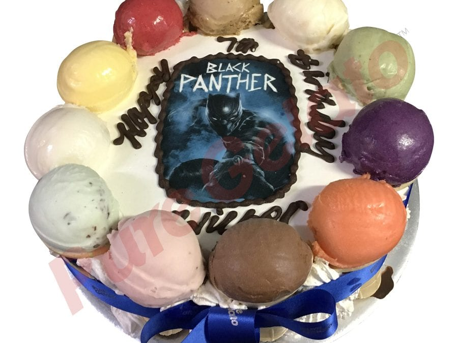 Scoop edges only Black panther image Blue ribbon
