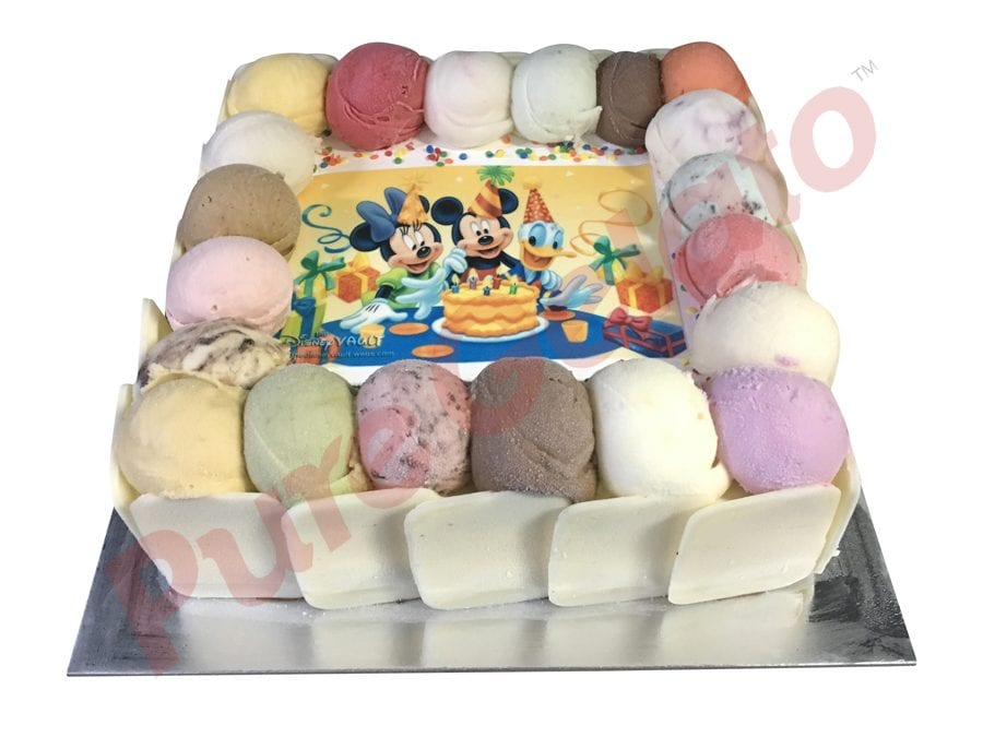 Scoop edges only White Chocolate sides 20 person size square+Mickey image