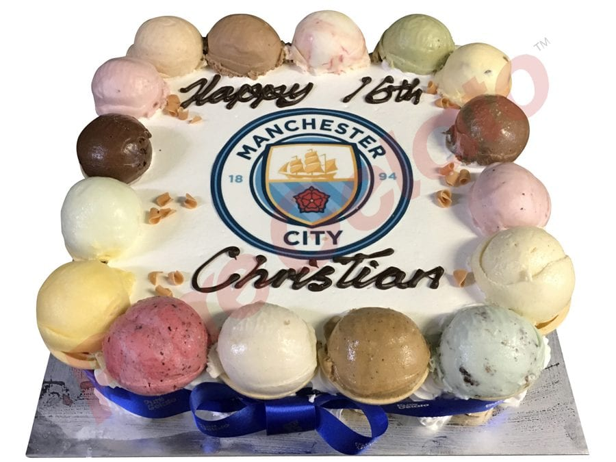 Scoop edges only+Manchester city logo Blue ribbon