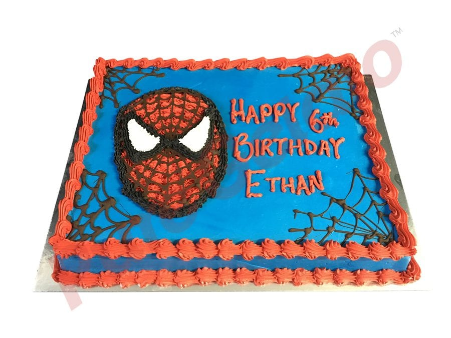 Smooth blue Cream Red Piping spider man themed pipped face+web