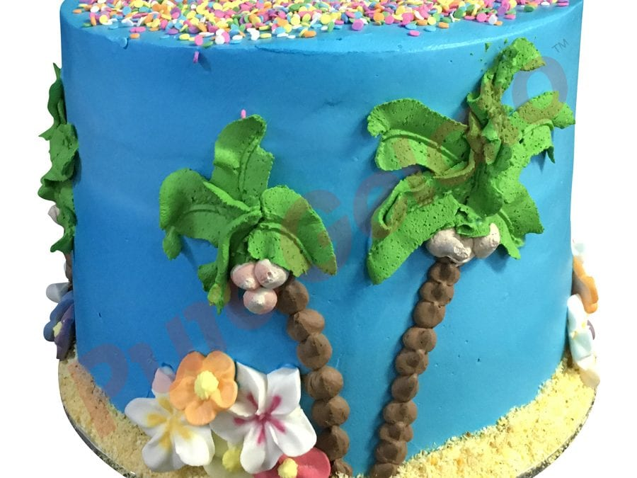 Smooth blue Cream triple stack Hawaiian island themed