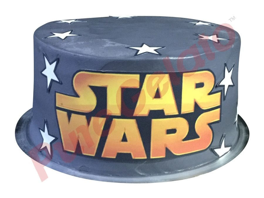 Smooth grey Cream double stack star wars image+stars all over