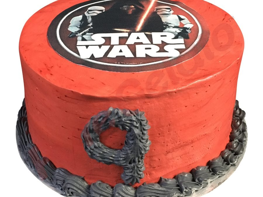 Smooth red Cream double Stack+star wars image grey piping