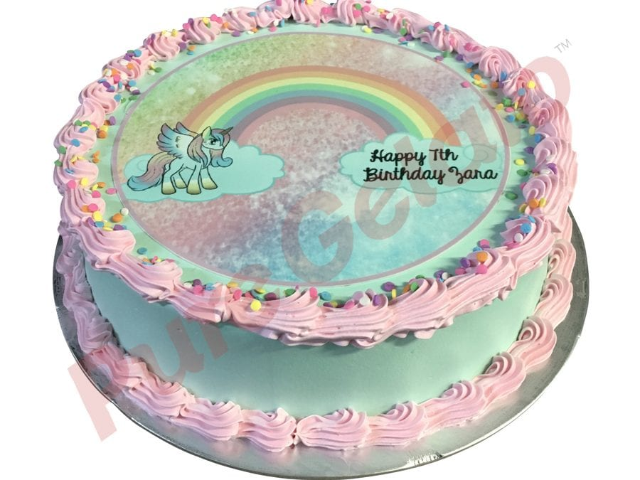 Smooth teal Cream Pink Piping Rainbow unicorn image