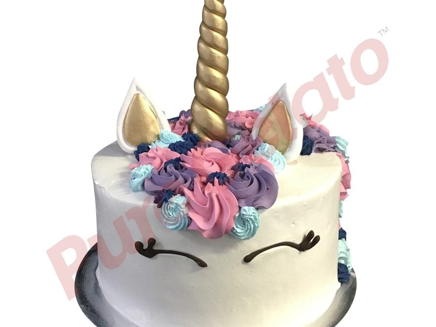 Smooth white Cream unicorn Double Stack pink blue purple rosettes+sprinkles