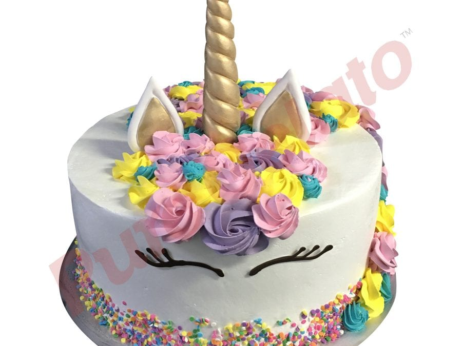 Smooth white Cream unicorn Double Stack+teal pink yellow purple rosettes+sprinkles