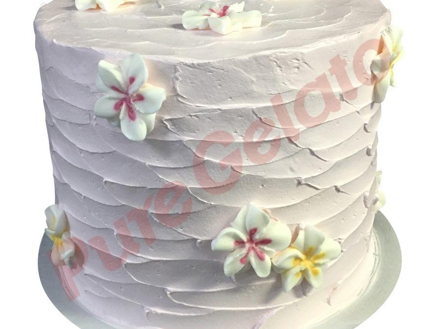 Triple Stack Cake light Pink Cream Spatula finish+frangipanis