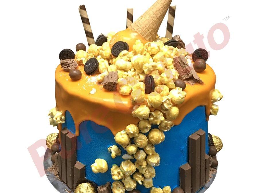 Triple Stack Cake orange Choc Drip blue cream+Mega Cluster
