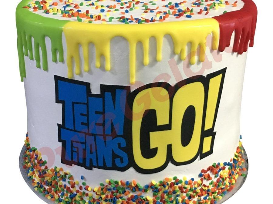 Triple Stack Multi Coloured Drip edge Teen titan Image+sprinkles