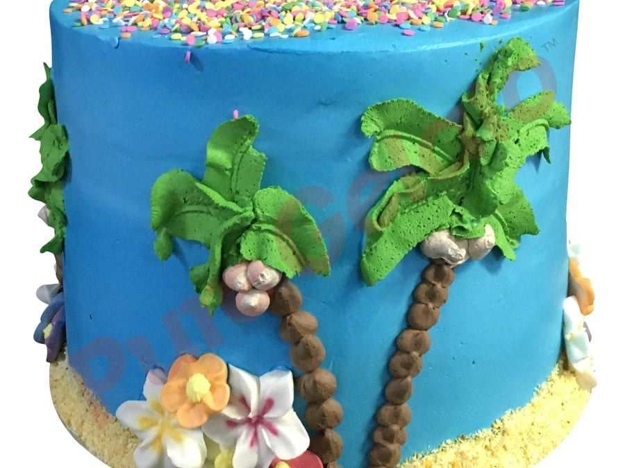 Triple stack cake blue smooth cream tropical island themed