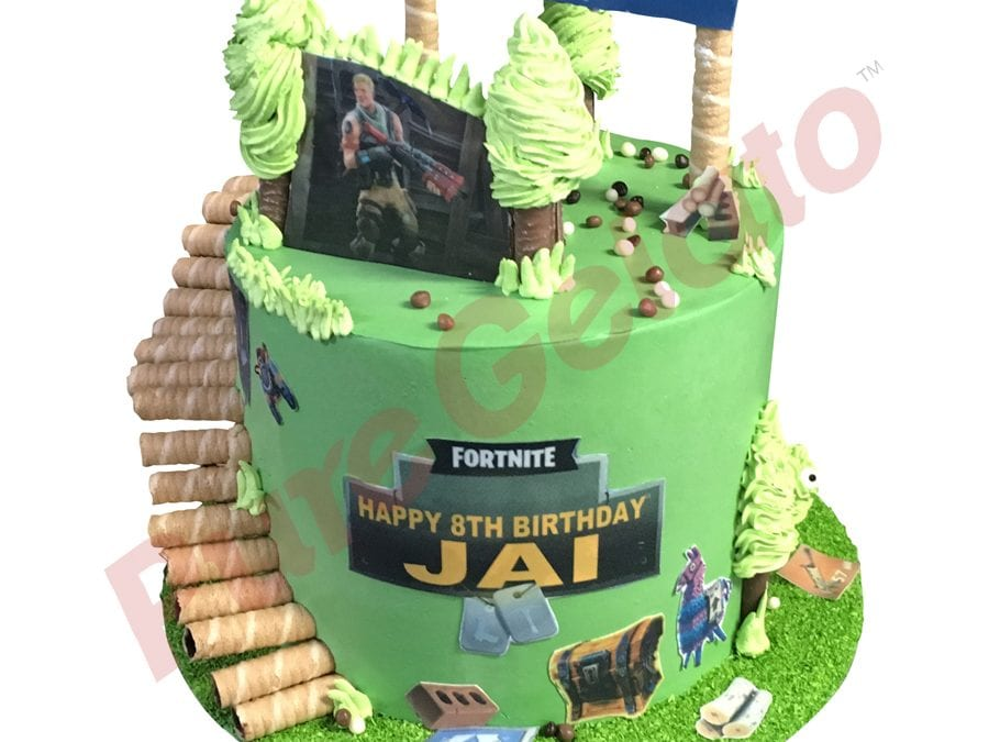 Triple stack cake green smooth cream fortnite themed