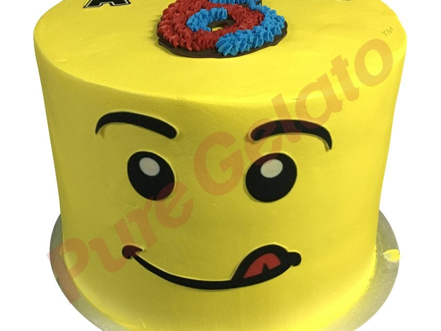 Triple stack cake yellow smooth cream LEGO face