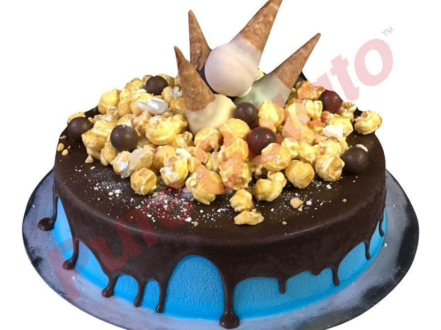 Upside Down Mini cones cluster choc drip Blue Cream