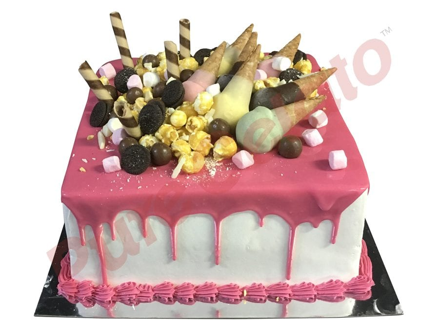 Upside Down Mini cones cluster pink choc drip Double Stack