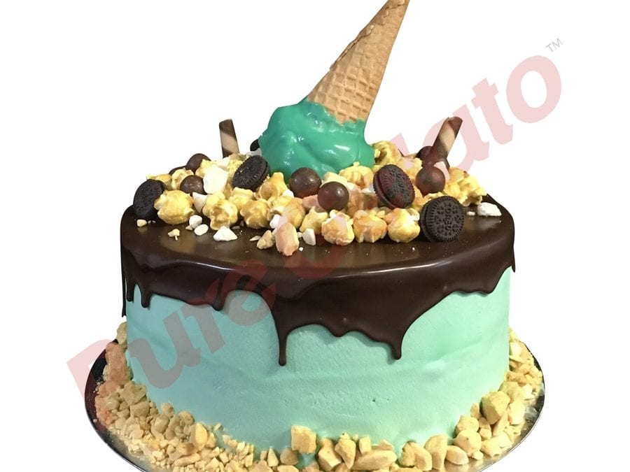 Upside Down cone cluster choc drip double Stack green Cream
