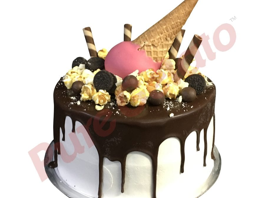 Upside Down cone cluster choc drip double Stack pink Cone
