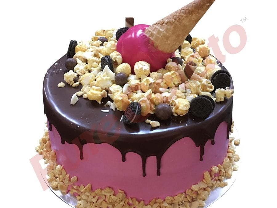 Upside Down cone cluster choc drip double Stack pink Cream