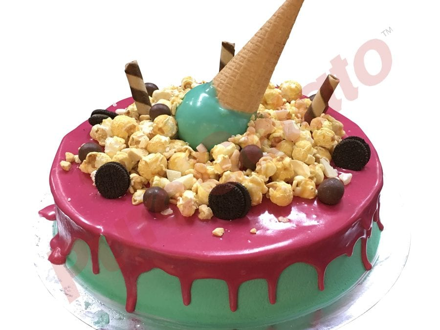 Upside Down cone cluster hot pink choc drip teal Cream
