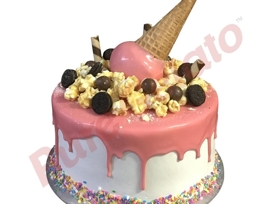 Upside Down cone cluster light pink choc drip double Stack+sprinkles