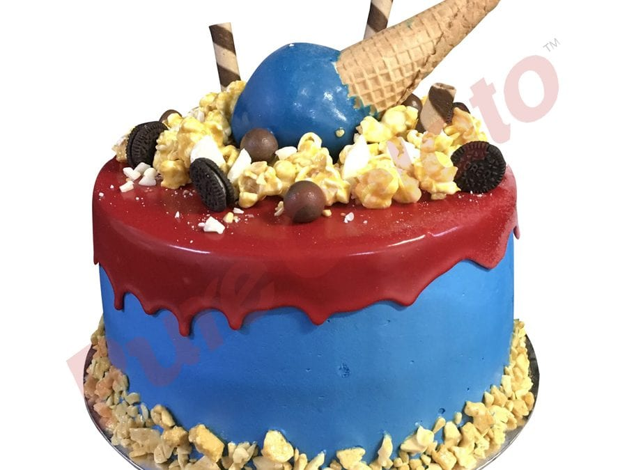 Upside Down cone cluster red choc drip double Stack blue Cream