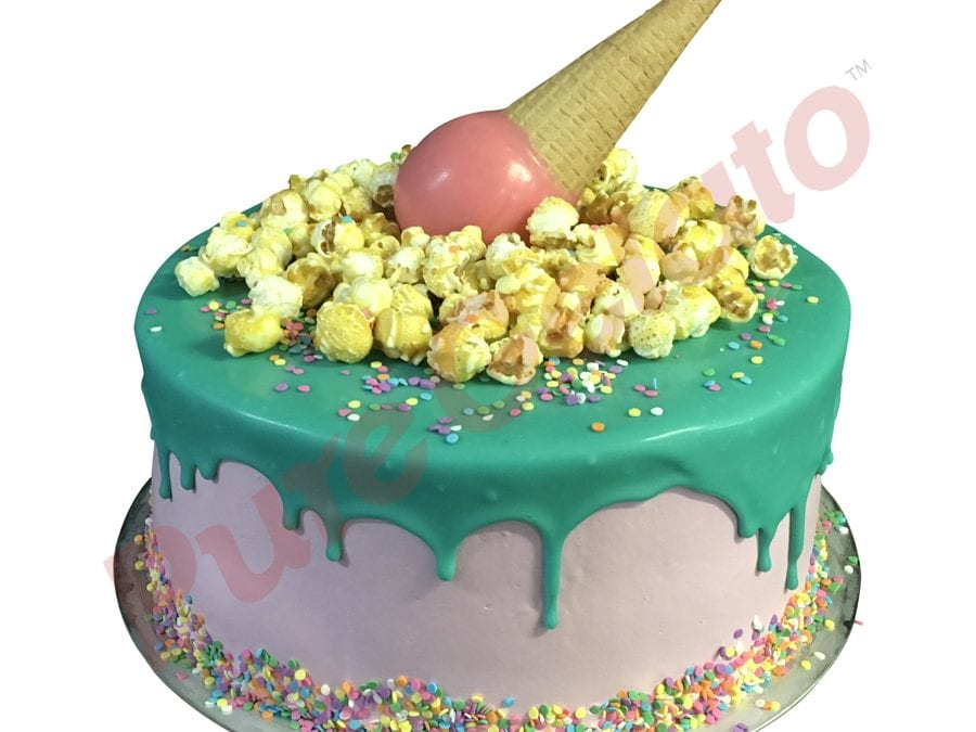Upside Down cone cluster teal choc drip double Stack light pink Cream
