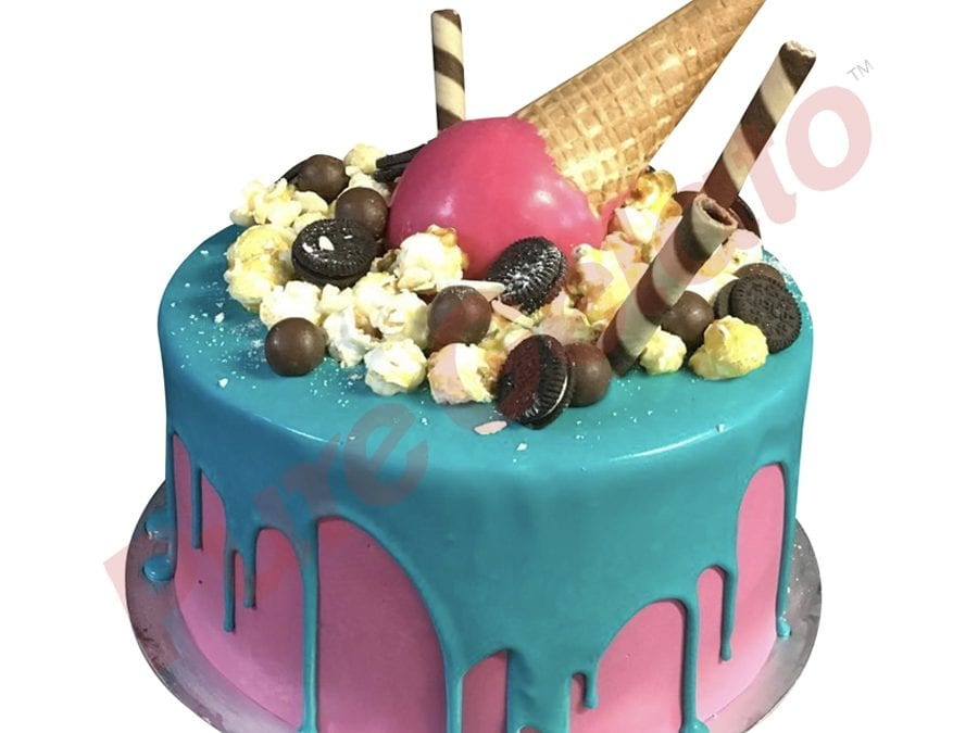 Upside Down cone cluster teal choc drip double Stack pink Cream