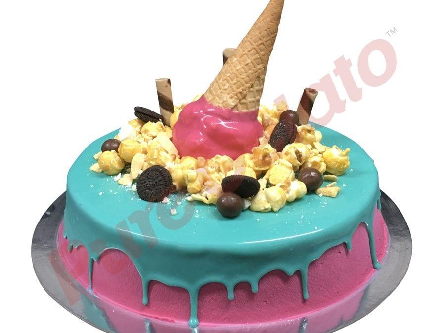 Upside Down cone cluster teal choc drip pink Cream