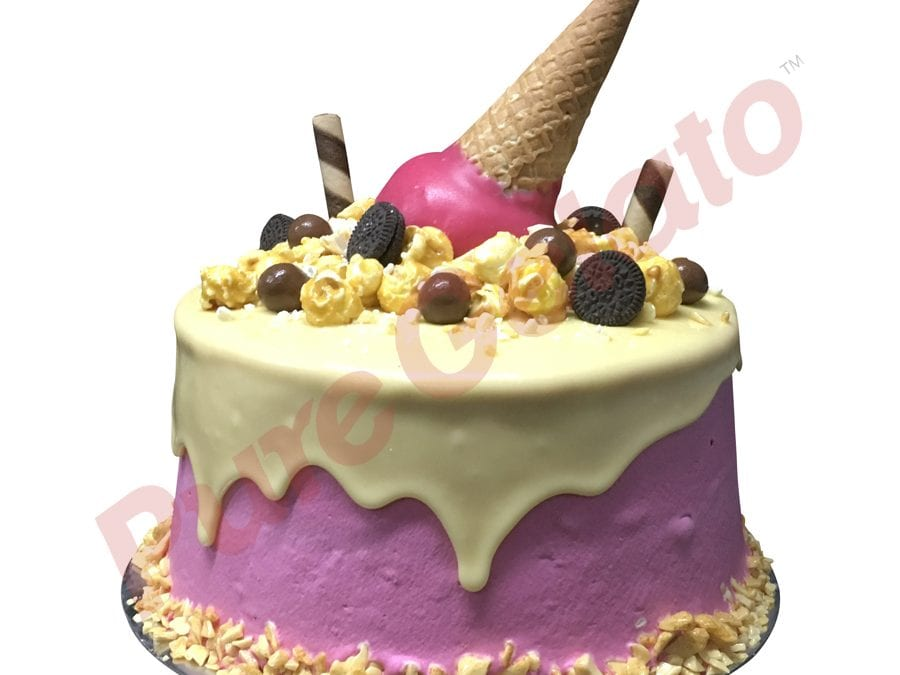 Upside Down cone cluster white choc drip double Stack pink Cream