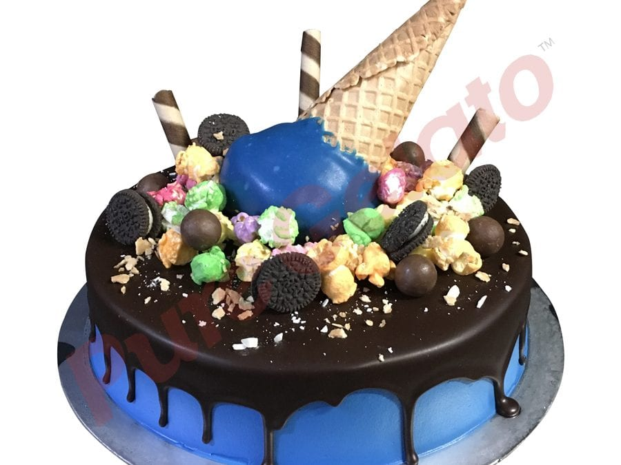 Upside Down cone colour cluster choc drip blue Cream