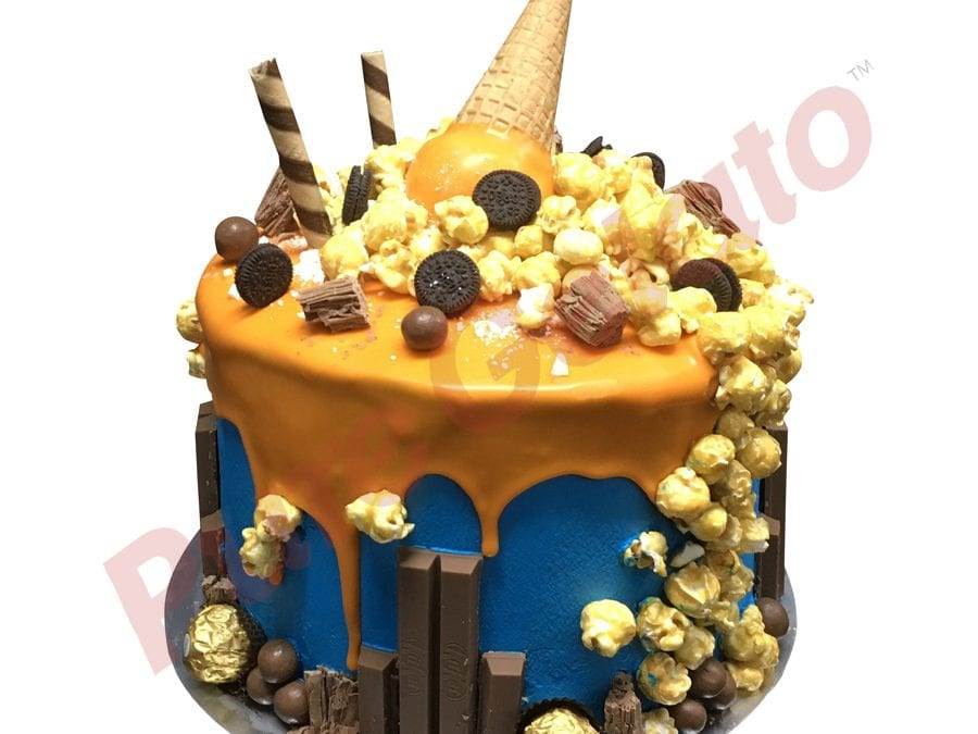Upside Down cone mega cluster orange choc drip triple Stack blue Cream
